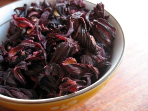 Hibiscus Tea is made from dried hibiscus flowers, and you can see the kind of color I'm aiming for